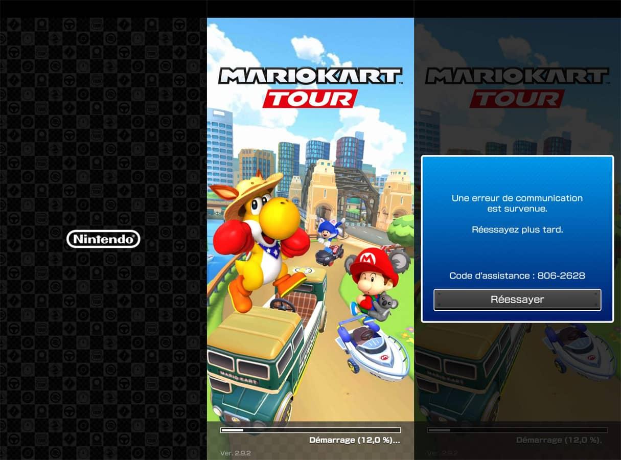 Mario Kart tour victime du bug 806-2628