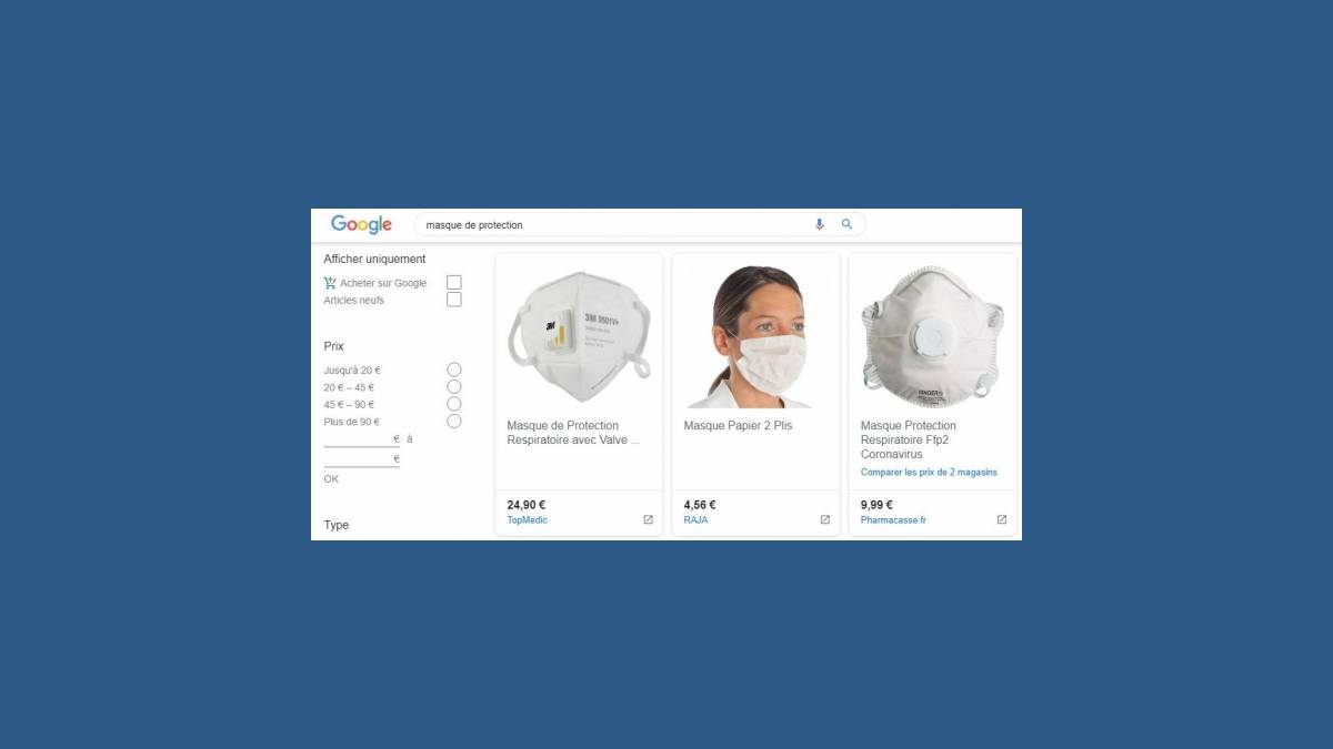 Masques de protection sur Google Shopping