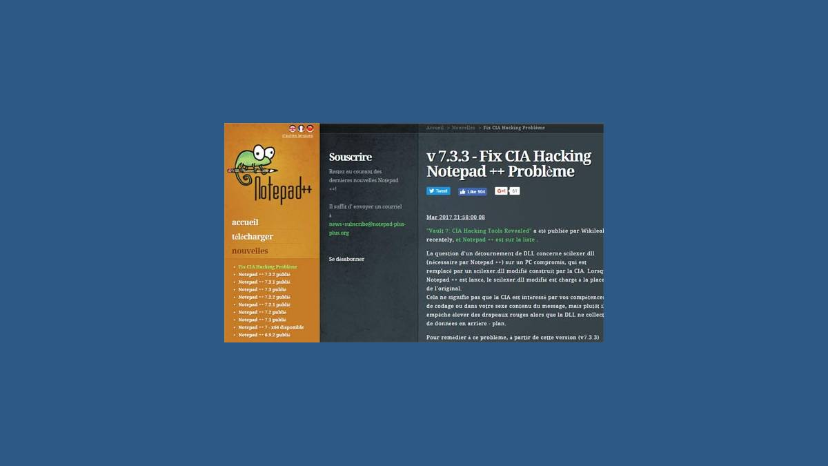 Notepad++ 7.3.3 CIA Hacking « Vault 7 »