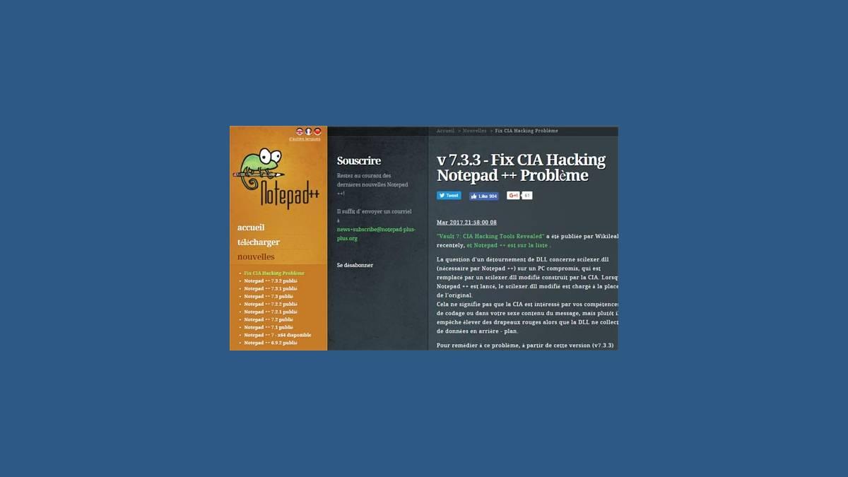 Notepad++ 7.3.3 CIA Hacking « Vault 7 »