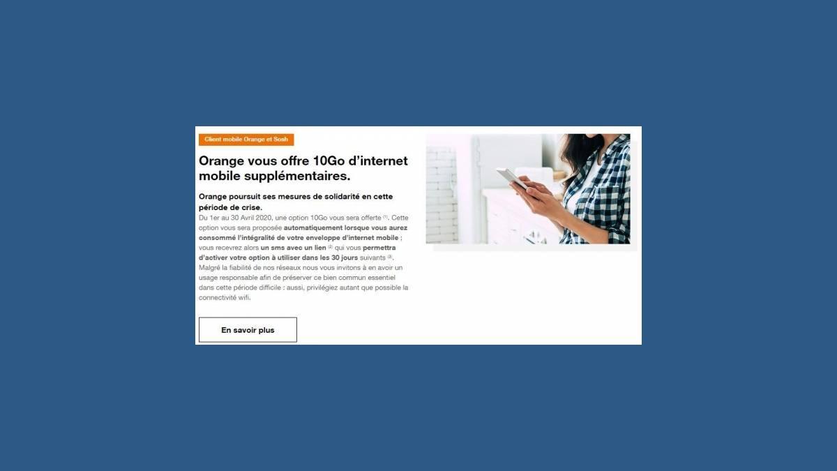 Orange vous offre 10 Go d'Internet mobile