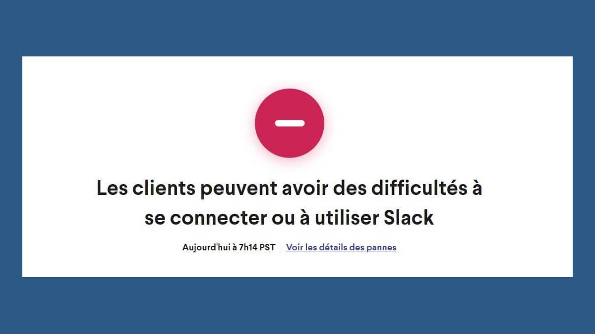 Page status messagerie professionnelle Slack