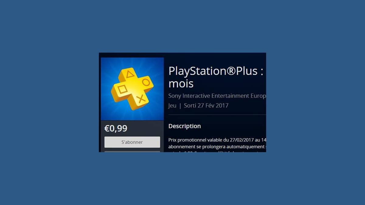 Abonnement PlayStation Plus à 0,99 €