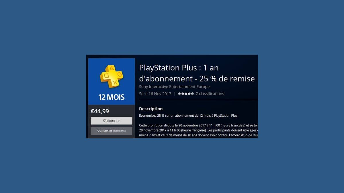 Sony PlayStation Plus 12 mois 44,99 €