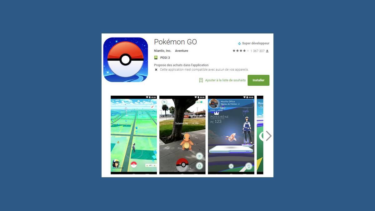 Applicaiton Pokemon Go France Android