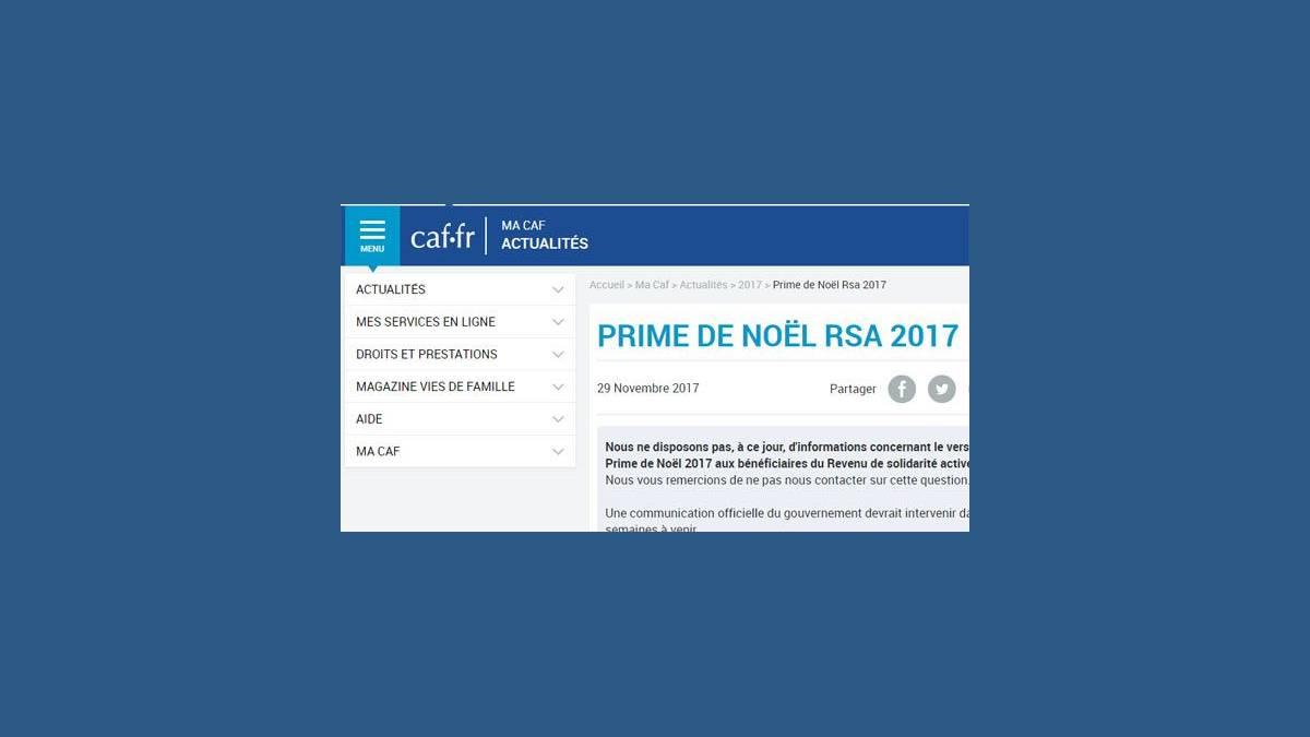 CAF - Prime de Noël RSA 2017