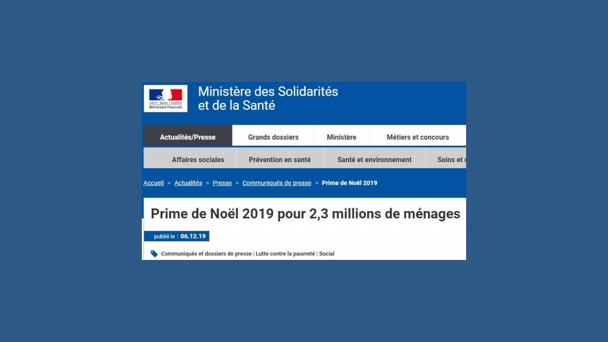 CAF - Prime de Noël 2019