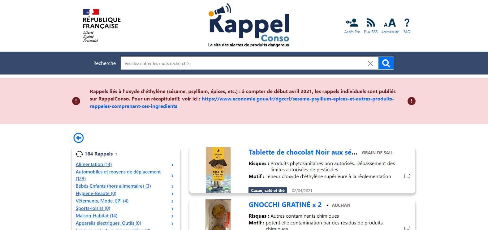 Site Internet RappelConso, les alertes de produits dangereux