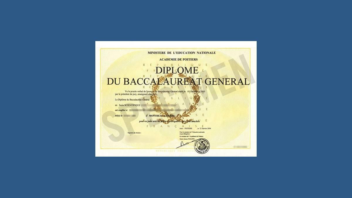 Diplôme du baccalauréat général (spécimen)