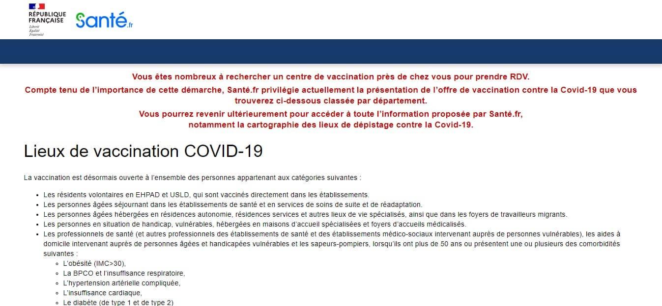 Liste des centres vaccination Covid-19 Sante.fr