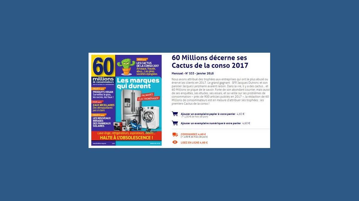 Cactus d'or 2017 de 60 millions de consommateurs