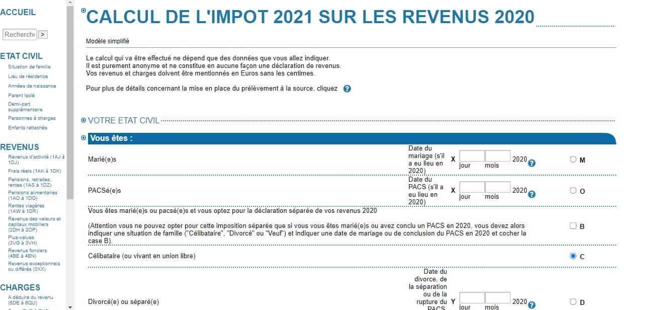 Simulation de calcul de l'impôt sur le revenu 2021