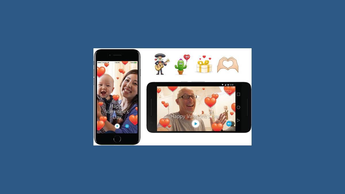 Saint-Valentin avec Skype et ses cœurs en vidéo