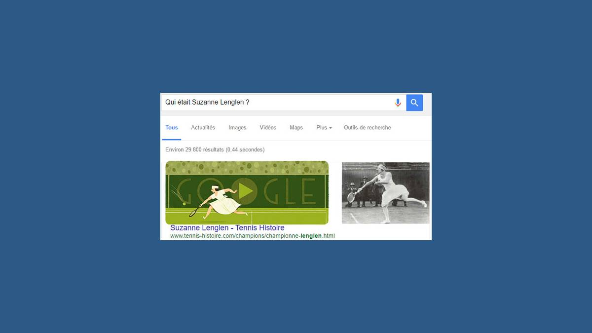 Doodle Suzanne Lenglen et Featured snippets