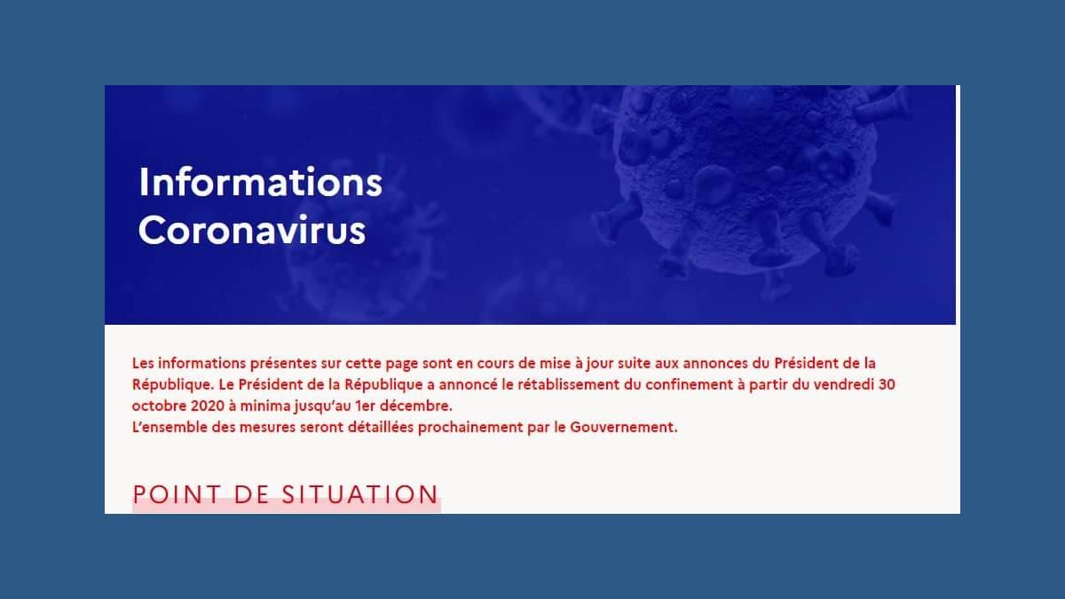 Information Coronavirus Gouverment.fr