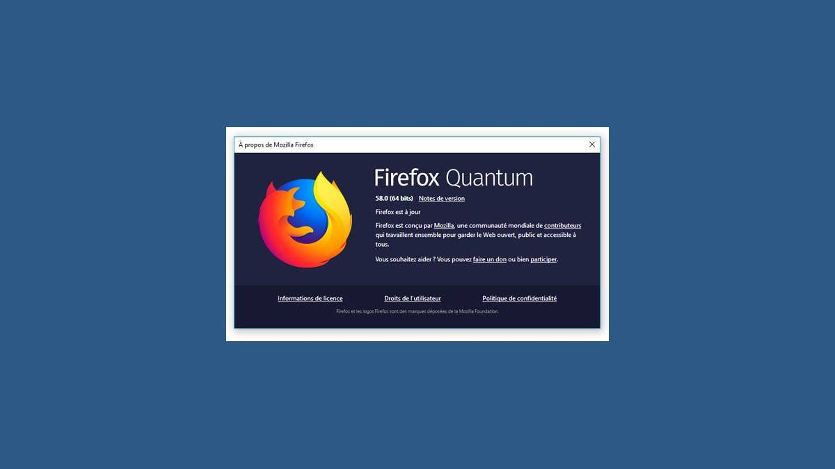 Interface mise à jour Firefox 58