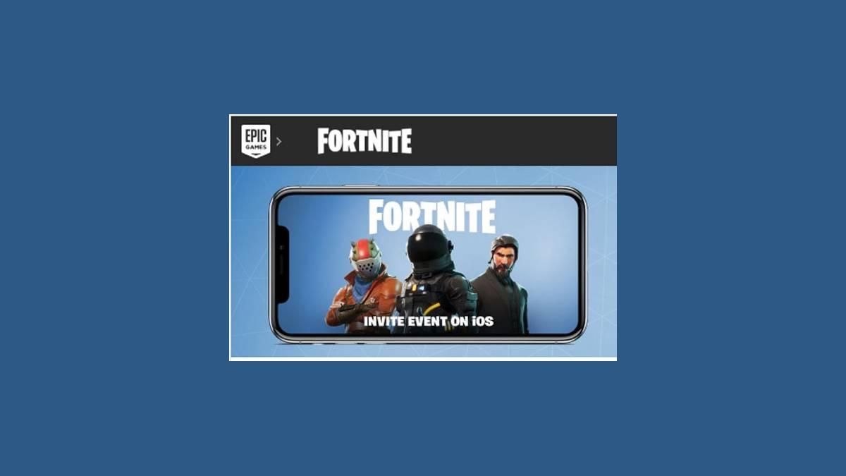 Invitation Epic Game « Fortnite Battle Royale » sur iOS