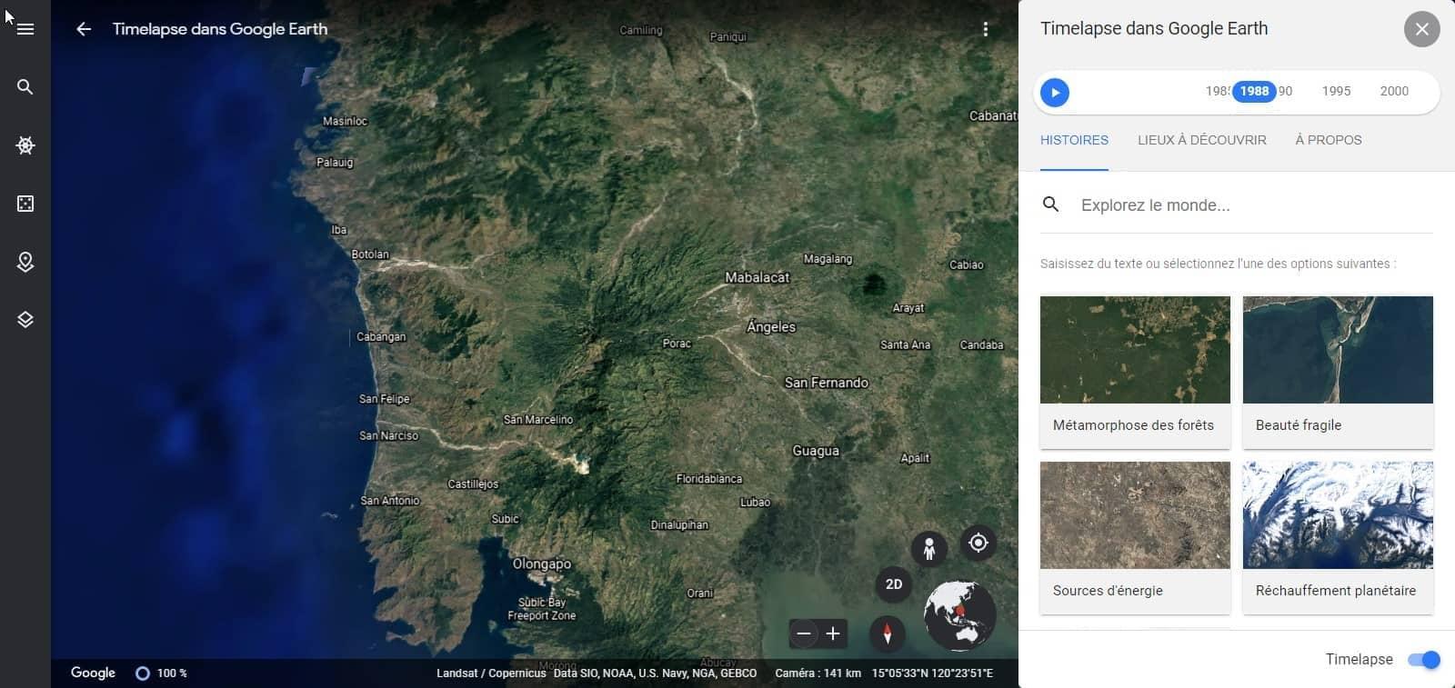 Google Earth Timelapse de 1984 à 2020