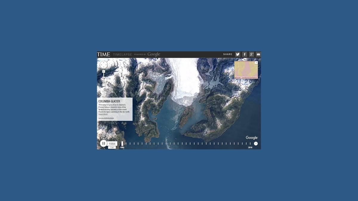 Timelapse du glacier de Columbia en Alaska