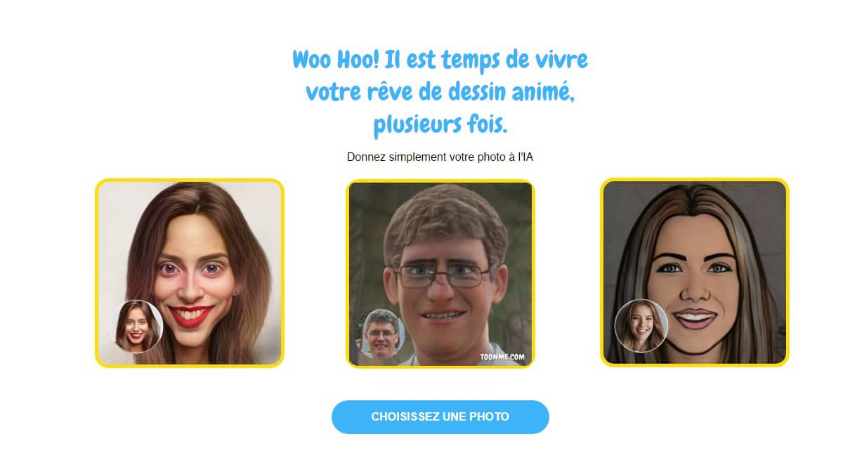 Transformation de photos avec ToonMe