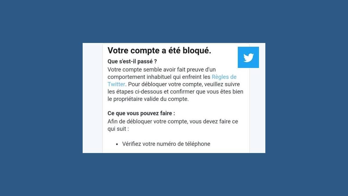 Message compte bloqué Twitter
