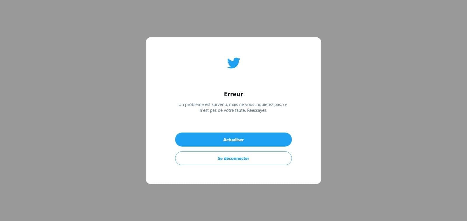Twitter victime du bug « Une erreur s