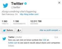 Compte Twitter et le nouveau symbole $