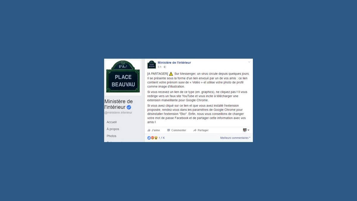 Virus eko ministère de l'Intérieur (capture Facebook)