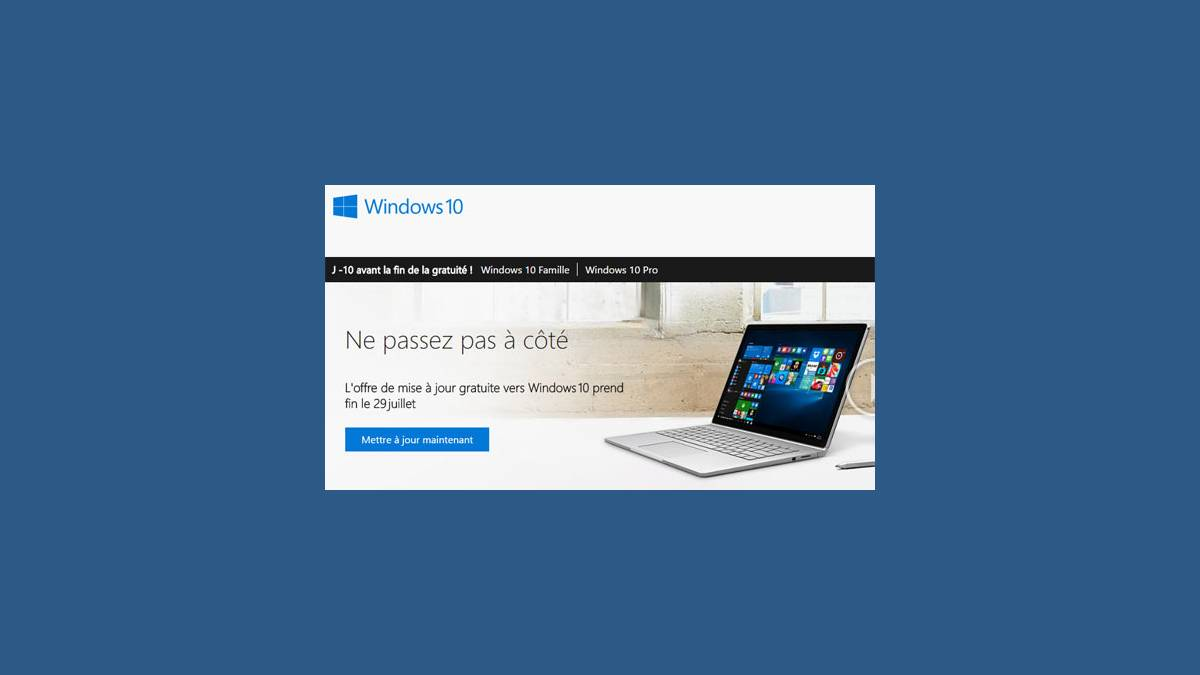 Mise à niveau gratuite Windows 10