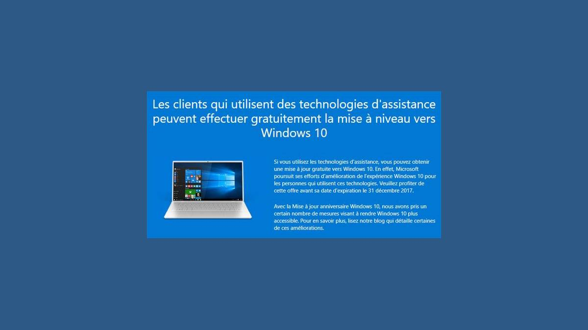 Mise à niveau gratuite vers Windows 10