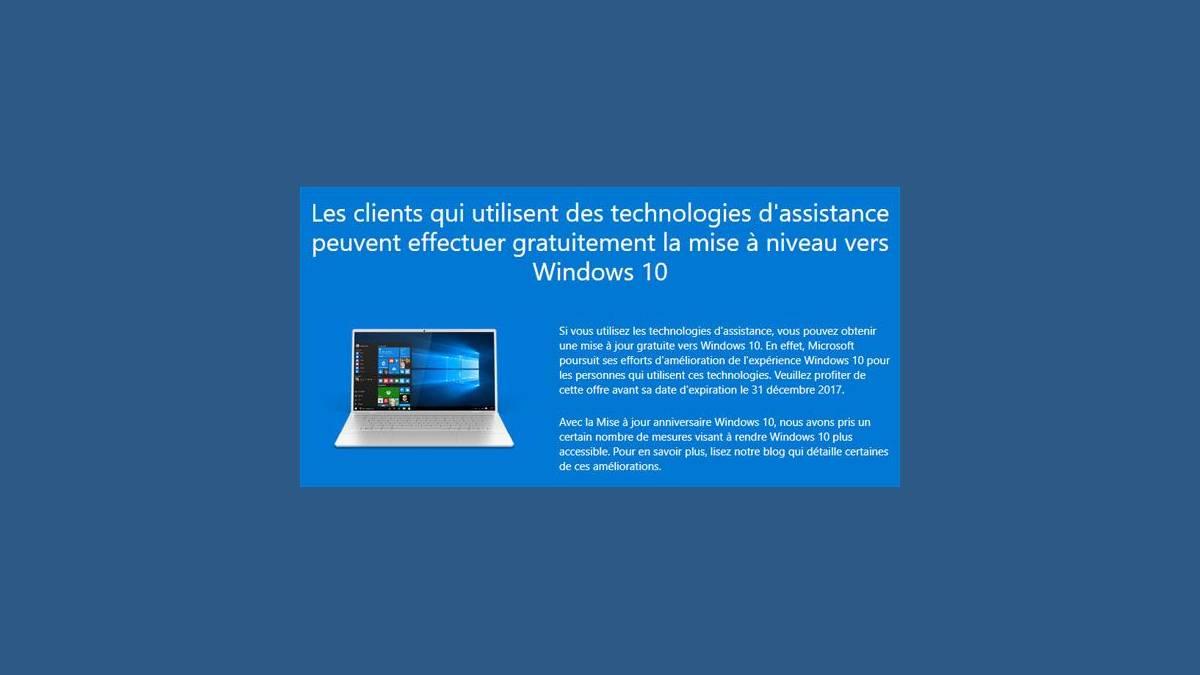 Mise à niveau gratuite vers Windows 10