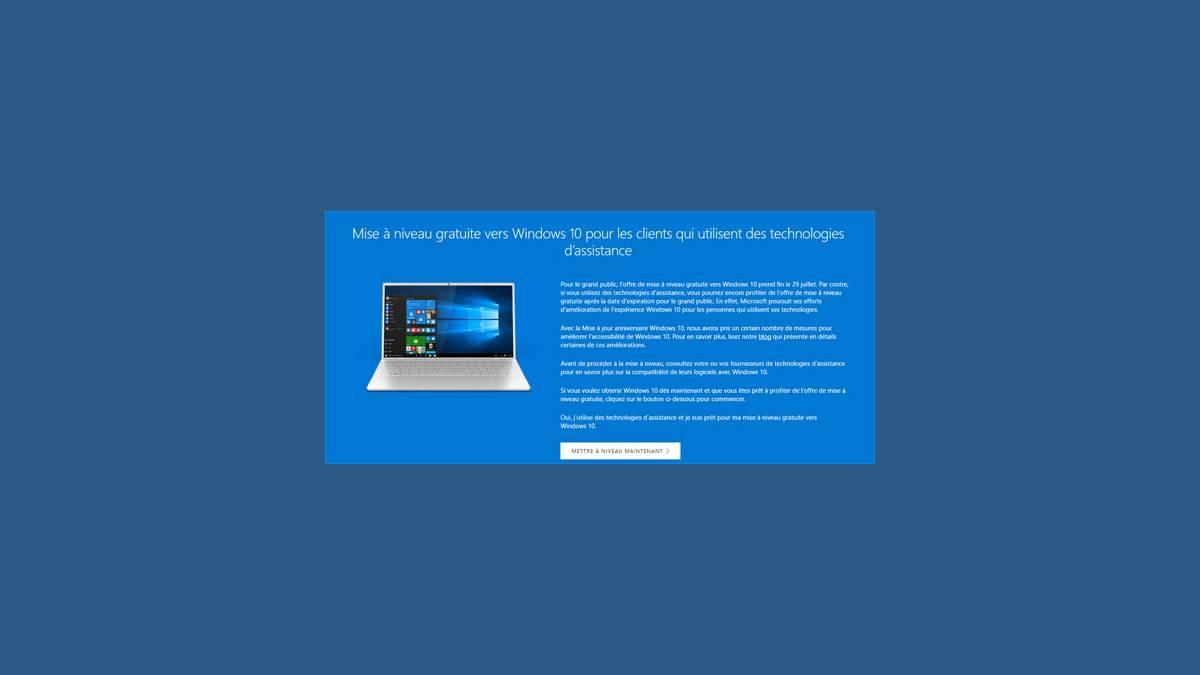 Mise à niveau toujours gratuite de Windows 10