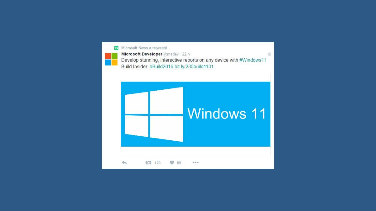 Tweet Build 2016 Windows 11