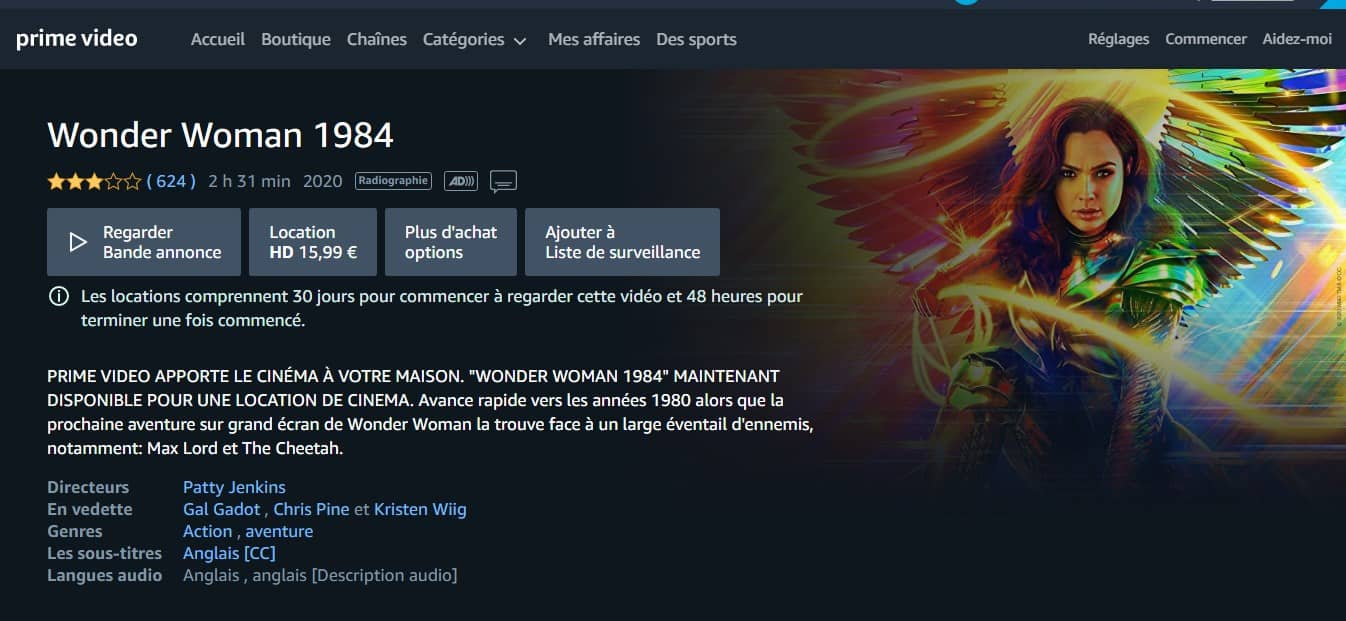 Wonder Woman 1984 en location sur Amazon Prime Vidéo