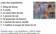 Recette de la pâte à crêpes facile (capture Google)