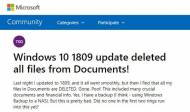 Windows 10 1809 la mise à jour qui efface Mes Documents