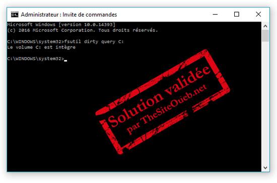 CHKDSK sur disque dur avec Windows 10