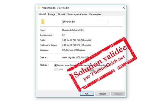 Réparer la corbeille est endommagée Windows 10