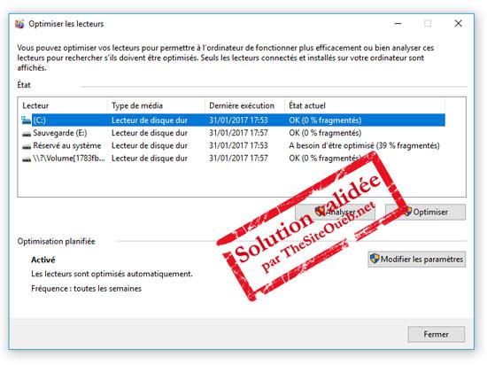 Défragmentation lecteurs Windows 10