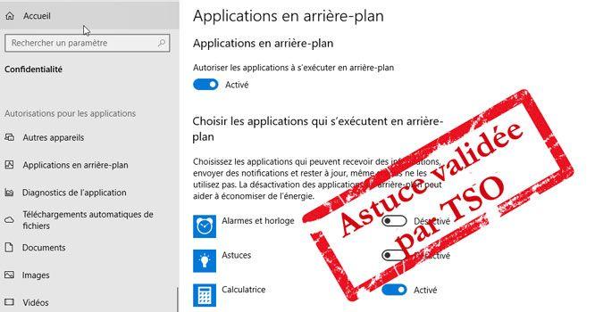 Désactiver applications en arrière-plan sur Windows 10