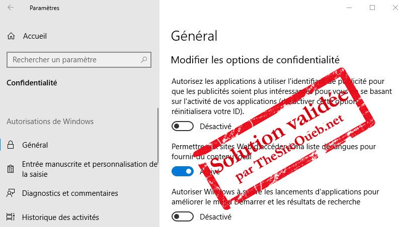 Applications en arrière-plan sur Windows 10