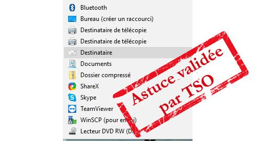 Envoyer vers destinataire menu contextuel Windows 10