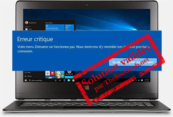 Message erreur critique menu démarrer et Cortana