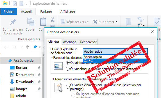 Explorateur de fichiers option Ce PC sur Windows 10