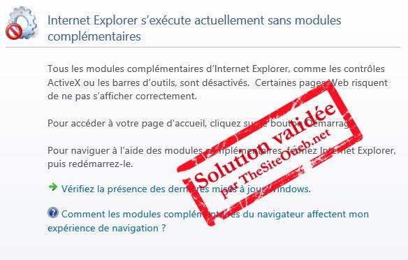 Message Internet Explorer sans échecs