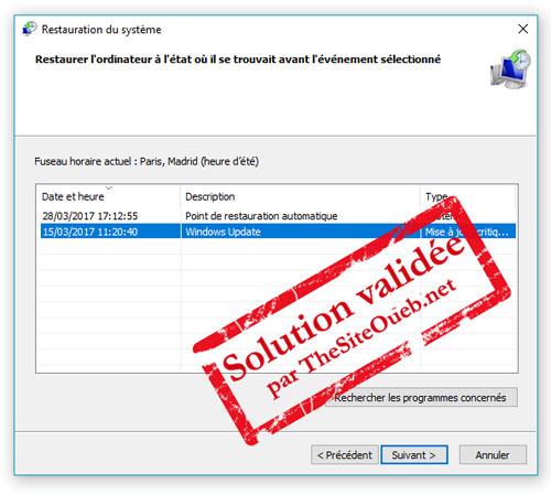 Rstrui.exe - Fenêtre de restauration Windows 10