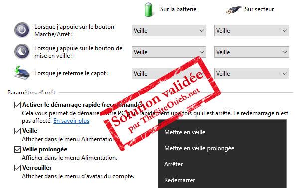 Mise en veille prolongée et menu sur Windows 10