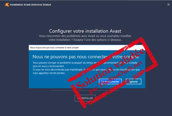 Erreur profil Windows 10 avec Avast